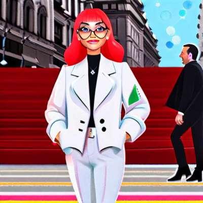 Angelina Jolie, chic svart och vit Gucci skräddare